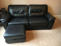 3 SEATER BLACK LEATHER SOFA BED AND 2 SEATER BLACK LEATHER SOFA WITH MATCHING FOOTSTOOL