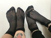 Two pairs of black fishnet socks