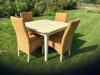 Cream Extendable Interior Dining Table and 4 Chairs