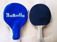 Table tennis bat (Schildkrot) and case (Butterfly)