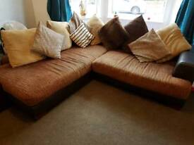 Brown fabric and faux leather sofa
