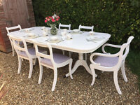 Stunning Shabby Chic Painted Extending Dining Table and 6 Chairs