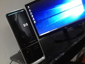 fast working excellent condition HP desktop PC with 22inch Full-HD LG monitor, Windows 10 Pro Office
