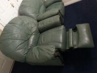 2 Vintage Armchairs ,Genuine Leather:1 reclainer & 1 non reclainer,