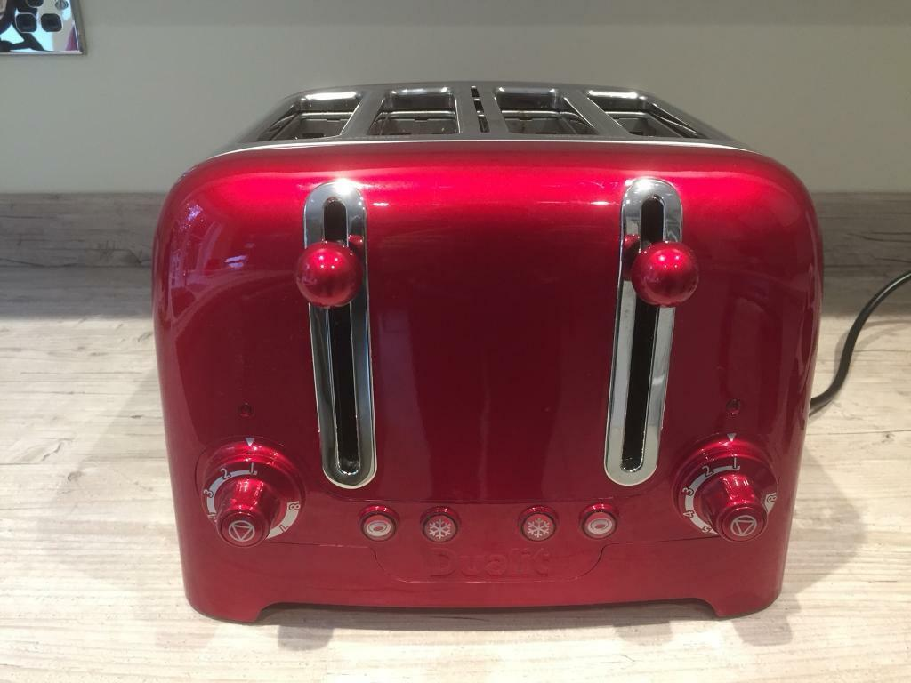Metallic Red Dualit 4-Slice Toaster and Metallic Red Dualit Kettle
