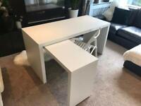IKEA Malm Extending White Desk