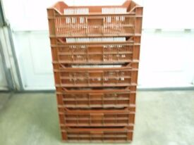 STRONG STACKABLE STORAGE CONTAINERS, TIDY UP GARAGE OR WORKSHOP, 12 FOR SALE, £1.50 EACH.