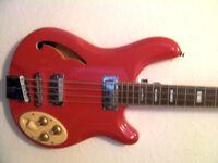 Italia Rimmini 4 Bass - Italia Red With Gig Bag - Lightly Used