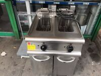 CATERING COMMERCIAL TWIN TANK FRYER CAFE KEBAB CHICKEN FAST FOOD RESTAURANT TAKE AWAY KITCHEN BAR