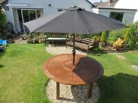 Three new Garden Parasols - Black. Easy to open with winding handles