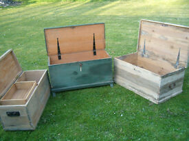 3 old antique pine blanket boxes