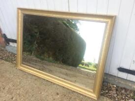 Large Mirror Bevelled Edge Gold Framed Overmantel Or Hall Mirror