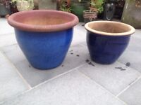 2 Large Blue Glazed plant pots