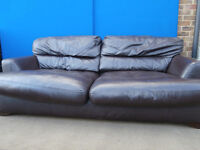 Land of leather quality dark brown sofa bed (Delivery)