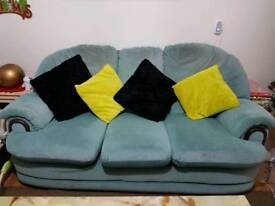 Sofa bed, 2 armchairs and a foot rest for sale