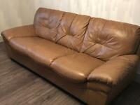 Leather three seater sofa and two chair suite