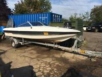 Fletcher Bravo speedboat on galvanised Snipe break back trailer