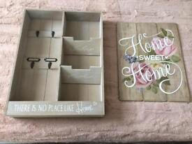 Home wooden storage unit & wall plaque