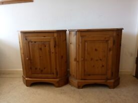 A Pair Of Ducal Antique Solid Pine Corner Cabinet Storage Unit