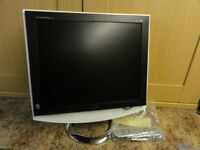 LG flat screen 19inch monitor/TV with remote control, white case on chrome stand