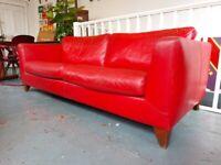 Vintage Red Leather German Three Seater Sofa by Machalke. Retro/Mid Century/Chair