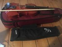 Violin with case, shoulder rest and Music Stand