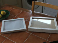 2 box frames, suit medals or fishing hooks etc