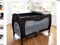 Babyway Mimas Luxury Travel cot with newborn Bassinet, changing station and separate mattress.