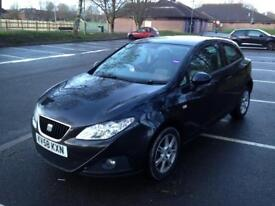2008 seat Ibiza 1.4 black 3 door a1 polo fsh!!