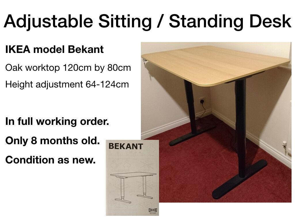 Adjule Sitting Standing Desk Bekant Model From Ikea Only 8 Months Old