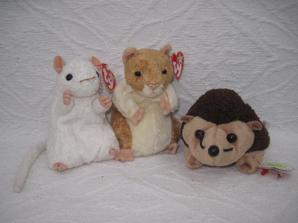 Ty Beanie Babies, mouse, hamster & hedgehog