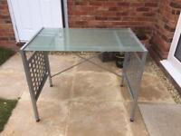 Metal frame desk with frosted glass top