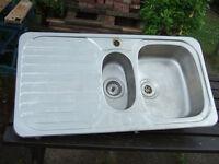 Stainless, 1 & 1/2 Bowl Kitchen Sink.