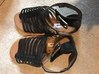 Clarks black leather sandals, new and boxed