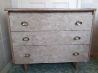 1960's Formica Dressing Table and Chest of Drawers