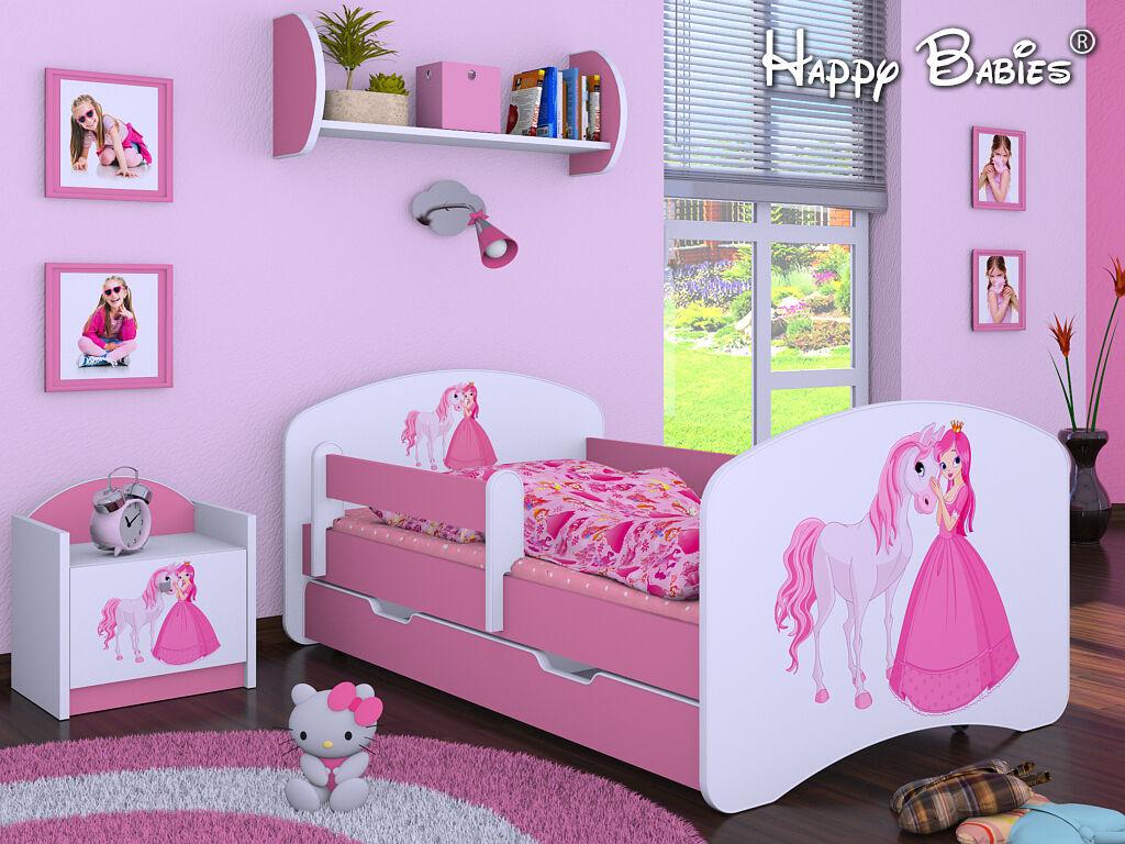 """3 teiliges Set Jugendzimmer Kindermöbel Zimmermöbel """"Prinzessin mit Pferd'' rosa 1"""