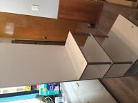 Shelving unit with full length mirror