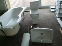 White Bathroom suite, including An Aqualisa bar shower with riser and head, in excellent condition