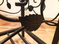 Decorative Floral Designed Metal & Glass Black stylish Modern Coffee Table