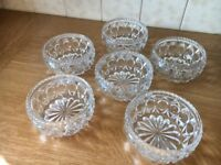 Six glass fruit bowls