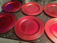 Plastic red plate salvers