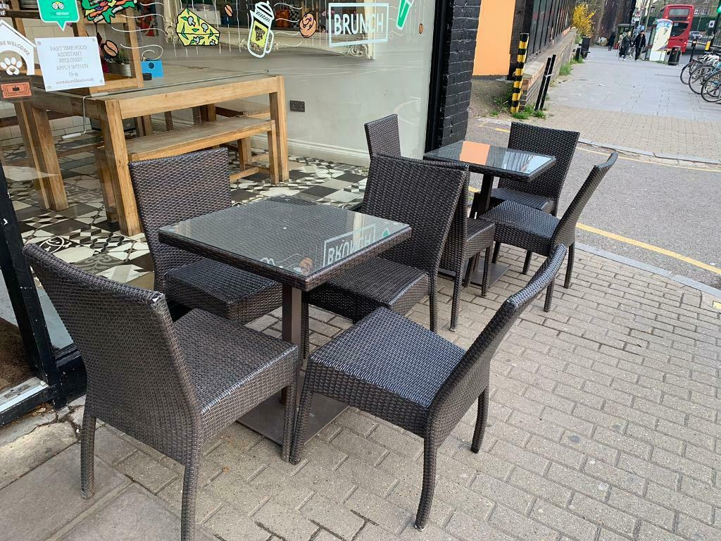 Outdoor garden cafe restaurant table and chair set in brown ratten 8 chairs 3 tables