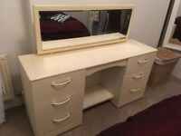 White / Cream Dressing Table with Mirror and Drawers