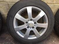 4 alloy wheels with 4 winter tyres- great condition. 205/55 R16.