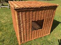 Beautiful wicker pet basket/bed with lid