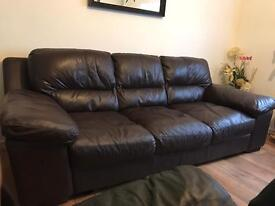 2 DFS CHOCOLATE LEATHER LARGE SOFAS CAN BE DISMANTLED
