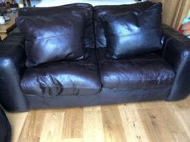 2 piece dark brown leather sofa suite with footstool in excellent condition