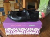 Clarkes Girls black School Shoes