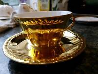 Beautiful Royal Worcester Vintage Gold Lustre tea cup, saucer and plate.