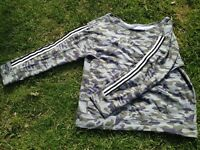 River Island Camouflage print sweatshirt with stripes, size 12.